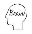 black silhouette head with word brain vector image vector image