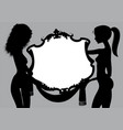 black silhouette two naked girls with a vintage vector image vector image