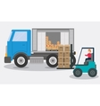 Box forklift truck delivery shipping icon vector image vector image
