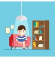 boy reads a book while sitting on the couch vector image vector image