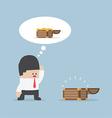 Businessman and empty treasure box vector image