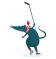 cartoon rat or mouse an ice hockey player vector image vector image