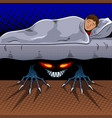 child with monster under the bed pop art vector image