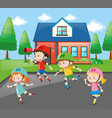 children rollerskating on the road vector image vector image