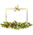 christmas fir decoration with golden bow vector image
