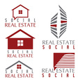 Collection of social real estate icons and design vector image
