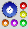 compass icon sign Round symbol on bright colourful vector image vector image