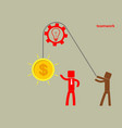 concept of teamwork - a man holds up a brain on a vector image