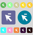 Cursor arrow minus icon sign 12 colored buttons vector image