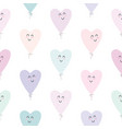 cute seamless pattern with kawaii hearts balloons vector image vector image