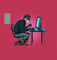 dead skeleton hacker hacked computer vector image vector image