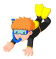 diver boy cartoon vector image vector image