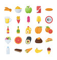 food and drinks icons pack vector image