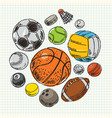 freehand drawing sport balls vector image vector image