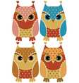 Funny cartoon owls vector image vector image