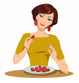 Girl eats strawberries vector image