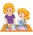 Girl helping mom doing the dishes vector image vector image