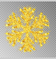 golden snowflake with glitter isolated on transpar vector image vector image