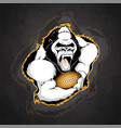 gorilla with the ball for american football on a vector image