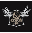 Grunge bikers theme emblem with skullflames and