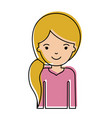 half body woman with pigtail hairstyle in vector image
