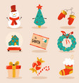 holiday set with cute characters and decorative vector image