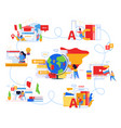language school flat infographics vector image