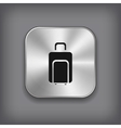 Luggage icon - metal app button vector image vector image
