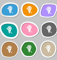 Map pointer icon sign Multicolored paper stickers vector image