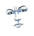 Monochrome hand-drawn portrait of white-skin vector image