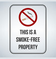 no smoking sign this is a smoke free property vector image vector image