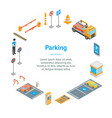 parking signs 3d banner card circle isometric view vector image vector image