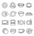 plates bowls thin line icons set isolated vector image