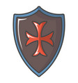 red cross classic shield icon cartoon style vector image vector image