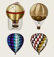 retro hot air balloons flying airships vector image vector image