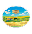 rural landscape in frame a graphic design vector image vector image