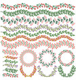 set colorful floral decorations all brushes vector image vector image
