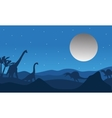 Silhouette of dinosaur with moon vector image vector image
