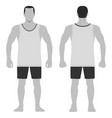 singlet man template front back views vector image