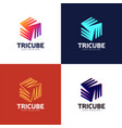 tech cube logo design template hexagon logotype vector image