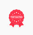 top rated badge red on white vector image vector image