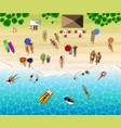 top view of sunbathing people vector image