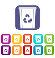 trash bin with recycle symbol icons set flat vector image vector image
