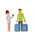 traveling couple of young people vector image vector image