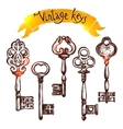 Vintage Sketch Keys vector image