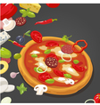 Whole pizza and the ingredients vector image vector image