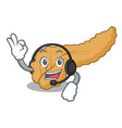 with headphone pancreas mascot cartoon style vector image vector image