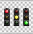 realistic traffic light set isolated led vector image