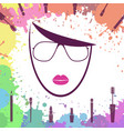 face of beautiful girl fashion icon makeup vector image