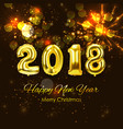 2018 new year background with golden balloon vector image vector image
